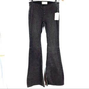 Free People women's black pull on flare jeans, 25R